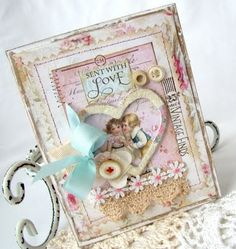 Shabby chic vintage Valentine card using lace, seam binding, silk flower, vintage buttons, hand stitching