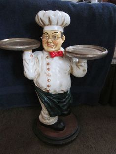 """25"""" x Large Fat French Chef Butler Statue Tray Bistro Decor   eBay"""