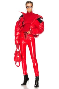 Unravel Shiny Nylon Cropped Down Jacket in Red   FWRD