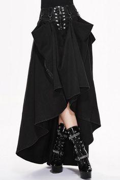 Black Convertible Lace Up Maxi Skirt