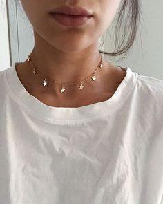 Star Necklace Gold/ Gold Lucky Star Charm Necklace/ Gold Star/ Dainty Gold Necklace/ Graduation Gift/ Gold Star jewelry/ - Fine Jewelry Ideas : glowing in our Lux choker ? Tiny Necklace, Dainty Gold Necklace, Dainty Jewelry, Star Necklace, Cute Jewelry, Jewelry Accessories, Jewelry Ideas, Gold Earrings, Bridal Jewelry
