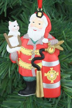 Santa and Kitty Firefighter Ornament