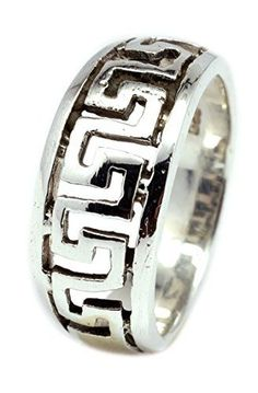 925 Sterling Silver Chinese Pattern Band Ring Size 6 7 8
