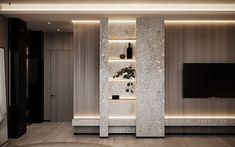 The Urban apartment - Dezign Ark (Beta) Urban Apartment, Apartment Design, Tv Wall Design, House Design, Tv Unit Design, Living Room Modern, Living Room Designs, Living Room Tv Unit, Muebles Living