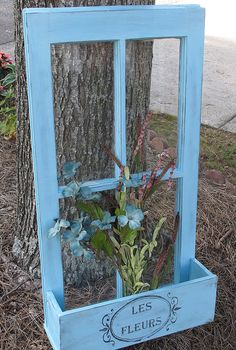 Old Window, flower box, shabby chic window, repurposed window, french provincial decor Vintage Windows, Old Windows, Windows And Doors, Old Window Frames, Window Art, Faux Window, Window Box Flowers, Flower Boxes, Old Window Projects