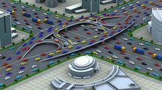 10-lane intersection without traffic lights is perfect for driverless cars.