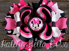 Pink Black and White MINNIE MOUSE Boutique by HaleysBellaBows, $8.50