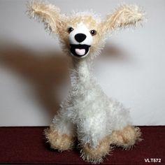 "Carlton Cards Twisted Whiskers Dog - Dancer White Tan Po-sable Plush Stuffed 14"""
