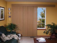 Sliding Woven Wood Shades for Patio Doors Door Shades, Patio Door Coverings, Woven Wood Shades, Sliding Panels, Patio Shade, Patio Doors, Tall Cabinet Storage, Blinds, Track