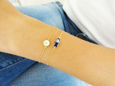 Mother daughter matching evil eye bracelets  mom by Handemadeit, 18.90
