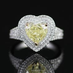 Stunning Natural Fancy Yellow Heart Shaped Diamond Engagement Ring w/ Double Halo