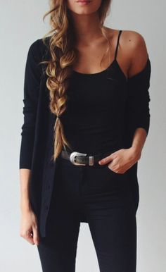 Gold belt buckle. Otherwise, black and black is always an inspiration