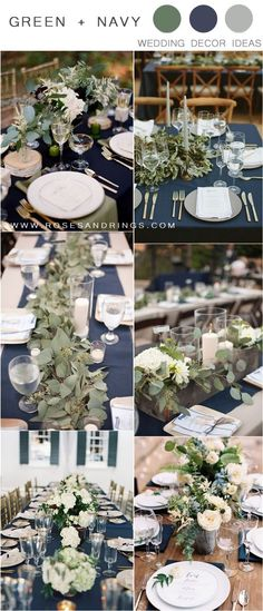Greenery and navy blue wedding table decor ideas wedding weddings weddingideas greenweddings rar blueweddings Winter Wedding Colors, Navy Wedding Colors, Navy Wedding Themes, Wedding Ideas, Navy Blue Wedding Theme, Wedding Photos, Sage Green Wedding, Wedding Table Decorations, Decor Wedding