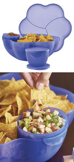 Chip 'N Dip Set. Includes 1 1/2-gal/5.7 L Chip Bowl, cover and two 2-cup/500 mL microwave-reheatable dip bowls with seals.