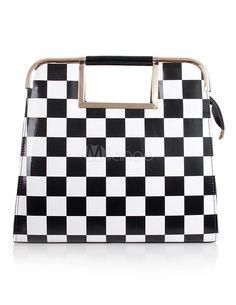 Saco de Tote Glitter casual xadrez feminino - Milanoo.com