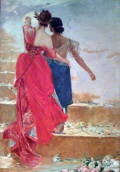Espana y Filipinas, 1886 by Juan Luna. it is an allegorical depiction of two women together, one a representation of Spain and the other of the Philippines. Filipino House, Filipino Art, Filipino Culture, Traditional Paintings, Traditional Art, Singapore Art Museum, La Colonisation, Philippine Art, National Art