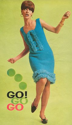 Vintage 1960s Fringed Go Go Dress Knitting Pattern PDF 6613