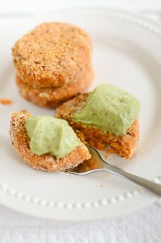 chickpea patties w/ avocado dip (make sure and bake them instead of frying them)
