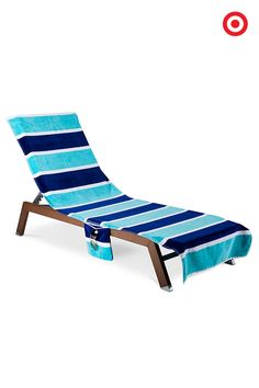 Brighten beach days for Baby and you with this lounge cover in broad turquoise and navy stripes. The sheared cotton dobby fabric is absorbent and soft for little ones. Plus, the bold colors make it easy to pick out your spot in a sea of sun worshippers.
