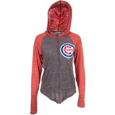 Chicago Cubs Womens Faded Red and Grey Full-Zip Hoodie #Chicago #Cubs #ChicagoCubs