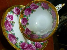 4:00 Tea...TUSCAN...Vintage pink Cabbage Roses, edged in Gold Gilt...teacup and saucer