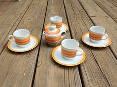 Vintage Ultra-Mod 1960's Mitterteich Bavaria China 9 Piece Espresso/Tea Set - 4 Cups & Saucers, Creamer by thevintagedude, $45.00