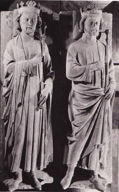 2. Clovis II et Charles Martel, milieu XII. Both men are wearing bliaut with mantles.