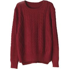 Choies Burgundy High-low Cable Sweater (495 MXN) ❤ liked on Polyvore featuring tops, sweaters, shirts, long sleeves, red, burgundy shirt, long sleeve tops, long sleeve sweaters, red sweater and cable knit sweater