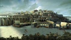 An artist's conception of lost city of Atlantis. Is it buried in the marshlands of Dona Ana Park in Spain ?