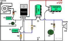 Dibujo del amplificador con TDA2003