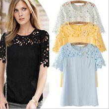 women new 2014 linda camisa saia cropped florais guipir renda camiseta blusa roupa feminina hollow out lace Blouses & Shirts(China (Mainland))