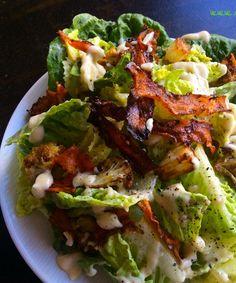 Plant based Caesar Salad incl cauliflower mayo & carrot bacon bits ! Just veggies made YUM !