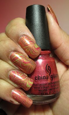 My Simple Little Pleasures: NOTD: Gold & Coral Water Marble See the tutorial:  http://youtu.be/0yybeEOqptA