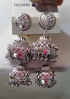 Indian Fashion Designer Crystal Stone Earrings Jumka Set Silver Plate Price: $10.99