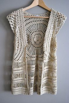 The Abby Top - Vintage 60s 70s Crochet Lace Boho Top Tank Vest