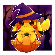 Happy Halloween! by Miryusune on @DeviantArt Pokemon Halloween, Anime Halloween, Halloween Art, Happy Halloween, Pichu Pikachu Raichu, Cute Pikachu, Kawaii Drawings, Cute Drawings, Desenhos Halloween