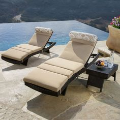 The elegant and ergonomic design of our Portofino Comfort 3 piece Chaise Set in Espresso features a gentle wave shape that looks great anywhere, and is the ultimate enhancement for backyard retreats, pools, decks, resorts and more!