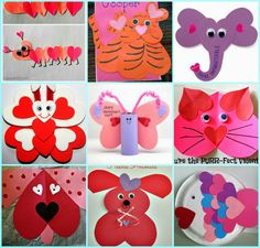 Cutest heart shape animal crafts for Valentine's Day! Kids will love making these easy paper art projects. Valentine's Day Crafts For Kids, Animal Crafts For Kids, Valentine Crafts For Kids, Daycare Crafts, Mothers Day Crafts, Valentines For Kids, Preschool Crafts, Holiday Crafts, Art For Kids