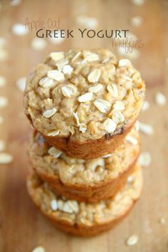 Apple Oat Greek Yogurt Muffins -- ridiculously soft and tender with NO butter or oil! A perfect breakfast or snack! || runningwithspoons.com