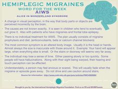 Hemiplegic Migraine Alice in Wonderland Syndrome (AIWS) Chronic Migraines, Chronic Illness, Fibromyalgia, Chronic Pain, Complex Migraine, Migraine Relief, Migraine Pain, Alice In Wonderland Syndrome