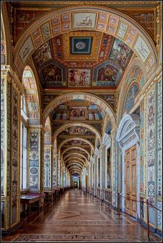 State Hermitage Museum - Saint Petersburg, Russia / The Raphael Loggias Gallery Beautiful Architecture, Beautiful Buildings, Art And Architecture, Beautiful Places, Winter Palace, St Petersburg Russia, Hermitage Museum, Kirchen, Barcelona Cathedral