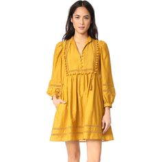 Sea Pom Pom Tunic Dress (€380) ❤ liked on Polyvore featuring dresses, mustard, mustard long sleeve dress, tie dress, long sleeve day dresses, long sleeve dress and yellow long sleeve dress
