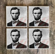 Drink Coasters, Abraham Lincoln, Determination Quote Handmade Design, Ceramic Tiles, Housewarming Gift, Wedding, Office Decor, Gift For Him  $5.00 #abrahamlincoln #president #USA #Patriotic #coasters #quote