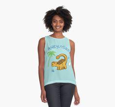 Cute Ankylosaurus Contrast Tank #dinosaurs #ankylosaurus #jurassic #yellow #animals