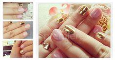 hybrid nails,  minx, gold nails,  pink nails, złote paznokcie, różowe paznokcie,  folie na paznokcie