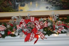 Christmas Garland, Mantle garlands, Christmas Mantle Garland, Fireplace Garland, Buffet Garland, Mantle Christmas Garland by TheBloomingWreath on Etsy Christmas Wreaths, Christmas Decorations, Holiday Decor, Fireplace Garland, Buffet, White Ribbon, Tree Toppers, Garlands, Candy Cane