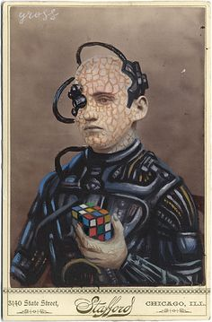 """""""Borg""""   Mixed Media on Antique Photograph, 7 x 5 Inches   The Art of Alex Gross"""