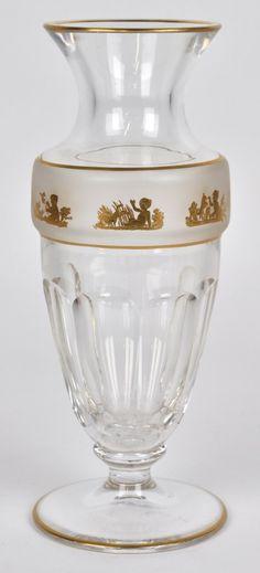 Val Saint-Lambert Vase Gary - Décor aux chérubins à l'or.
