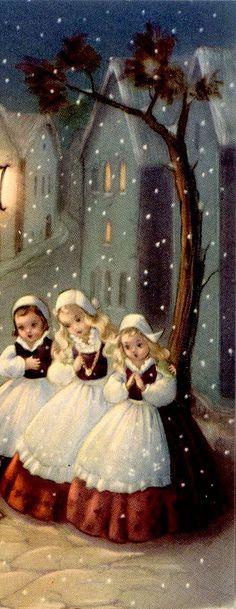 three maids caroling ~ vintage Christmas print