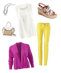 """cabi Spring 2016 - citron skinny, portico shrug, marisa top, villa necklace"" by stylingwithkristen on Polyvore featuring French Connection and Kate Spade"